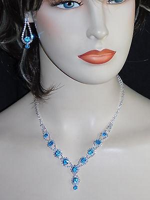 3PC Set Aqua Blue Rhinestones Including Necklace, Earrings & Bracelet /17226