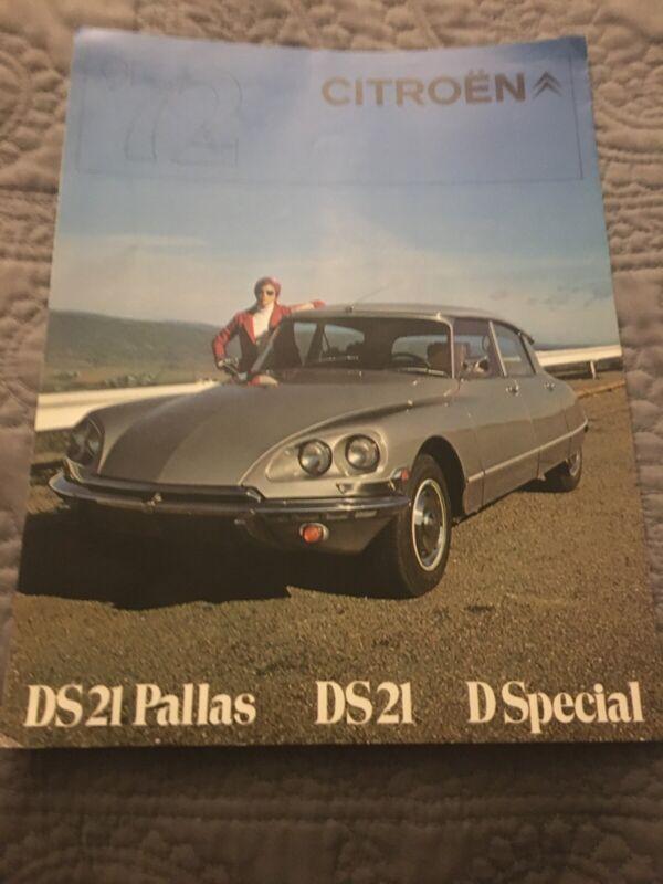 CITROEN DS Pallas DS21 D Special CAR ADVERTISING SALES BROCHURE 1972 Trifold