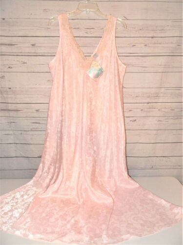 Vtg Sopre Womens 18W-20W (1X-2X) Nightgown & Robe Set Pink Lace Ankle Length NWT