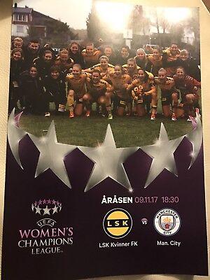 LSK Kvinner v Man City Women FC Programme (Season 2017-2018) Played: 09/11/2017