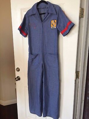 "Vintage Renault Denim Coveralls Overall Mechanic Jumpsuit- ""OTIS"" Embroidery"