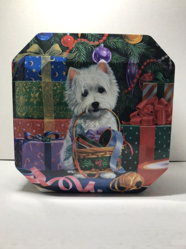 WESTIE WEST HIGHLAND WHITE TERRIER Quality Cadburys Xmas Tin 4 Cookies Or Candy