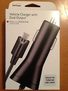 NEW Verizon Micro USB OEM Dual Car Charger w/USB Port for LG G2!. NIB