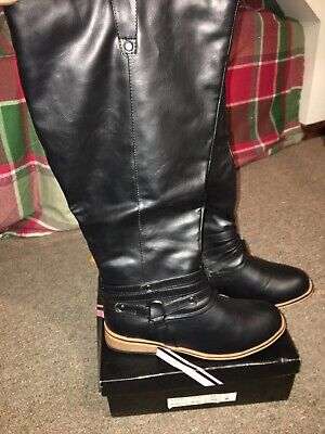 Journee Collection Womens Boots Size 7.5 Black Faux Leather Wide Calf Knee High