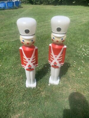 "2 Vintage Union 31"" Christmas Lighted Blow Mold Toy Soldier Yard Decoration"