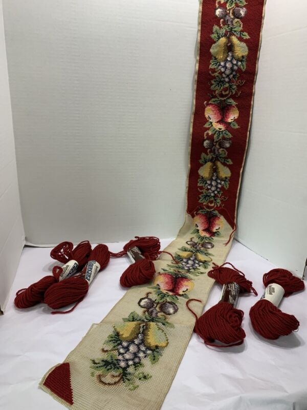 Vtg Wool Tapestry Needlepoint Bell Pull Fruits Almost Finished Burgandy