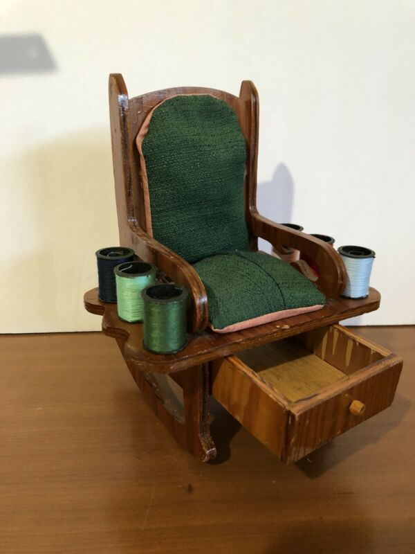 Vintage Rocking Chair Sewing Caddy Thread Spool Holder Pin Cushion