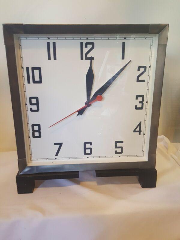Pottery Barn Shelf Retro  Mantel Clock Wood Metal Glass
