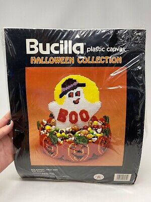 "BUCILLA Halloween ""Boo Basket"" Treat Dish Plastic Canvas Ghost"