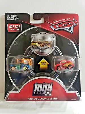 NEW DISNEY PIXAR CARS MINI RACERS RADIATOR SPRINGS 3PK GOLD RAMONE MATER McQUEEN