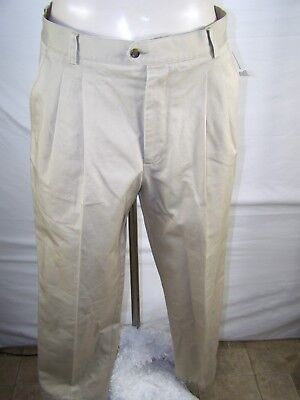 (Nordstrom Beige Four Pocket Pleated Work Business Pants Mens Size 34x31)