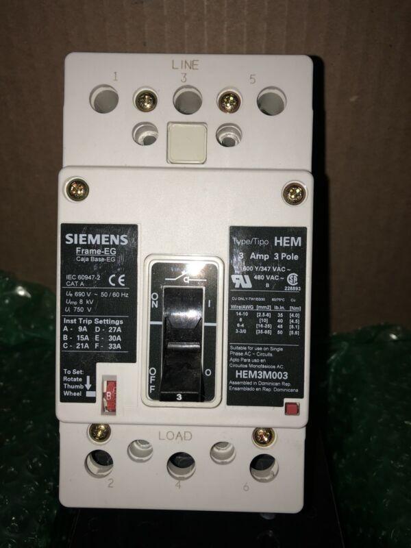 Siemens HEM3M003L 3p 600V 3a Molded Case Circuit Breaker MCP