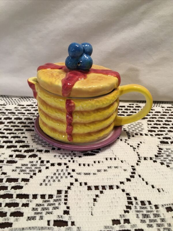 """Porcelain Creamer/Syrup Pitcher Pancake Form Topped with Blueberries 4"""" high"""