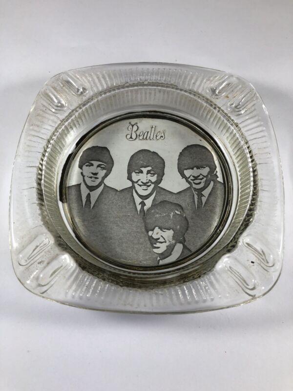 Vintage The Beatles Glass Ashtray