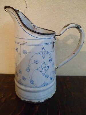 Vintage - Ancienne cruche émaillée - Blanc & bleu - 6 Photos
