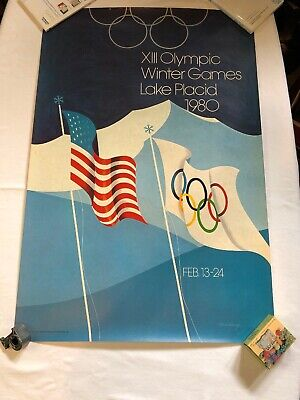 Vintage 1980 XIII Olympic Winter Games Lake Placid Advertising Poster ESTATE