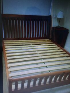 Wooden queen bed frame and bedside table
