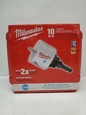 Milwaukee 49-22-4145 10 Pc. Plumbers Ice Hard Hole Saw Kit - New - Free Shipping