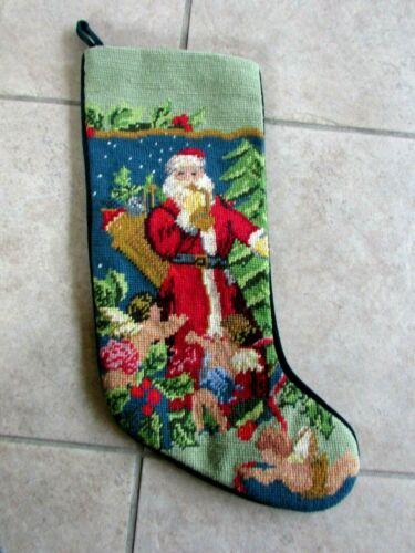 Needlepoint Christmas Stocking Santa Claus