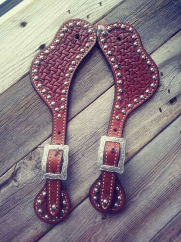 Western Spur Straps Leather Wynn, Stamped, Stainless Engrave Buckles and Dots