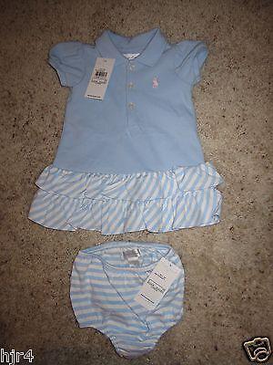 Polo Ralph Lauren Blaues Kleid Bloomers Kostüm 3m Baby Kleinkind Neu (Polo Ralph Lauren Kleinkind Mädchen)