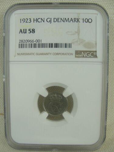 1923 HCN GJ Denmark 10 Ore * NGC Graded AU 58 * **KEY/ RARE DATE!!**