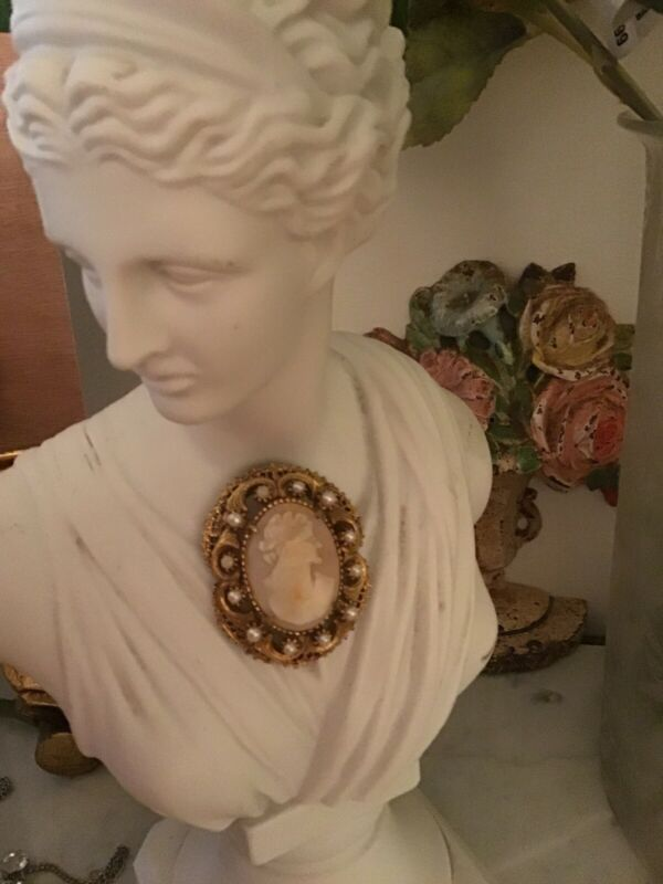 VINTAGE FLORENZA SHELL GOLD TONE CAMEO PIN And Necklace