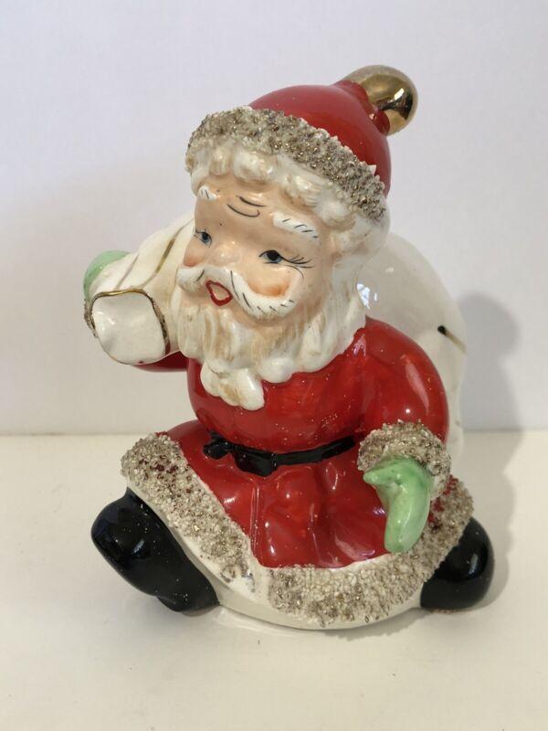 "RARE Vintage Ceramic Santa Spaghetti & Gold Trim Christmas Coin Bank 5"""