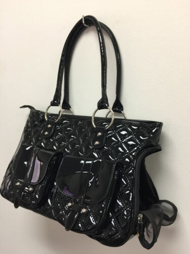 New Faux Leather Trim Purse Stylish Buckle Accents Pet Soft Carrier Tote 368