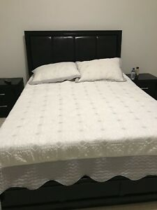 Beautiful queen bed with mattress and side tables