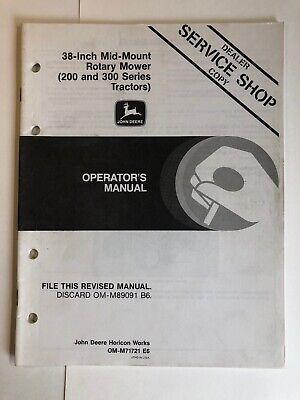 John Deere 38-inch Mid-mount Rotary Mower Operators Manual Om-m71721 E6