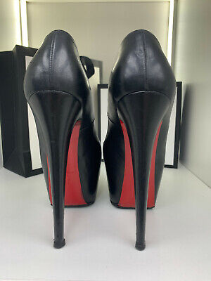1019$ daffodile 37,5 black 160mm 16cm louboutin leather fetish pumps high heels