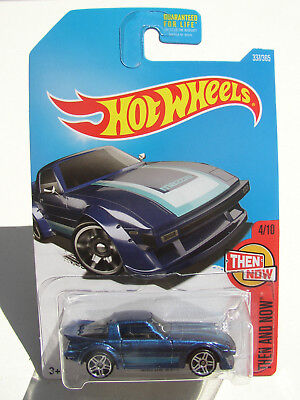 HOT WHEELS 2017 BLUE MAZDA RX-7 RX7 4/10 THEN AND NOW NEW HTF MIP!