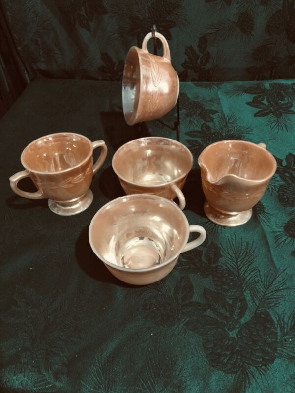 FIRE KING OVEN WARE PEACH LUSTER LAUREL LEAF - 3 CUPS AND CREAMER & SUGAR BOWL