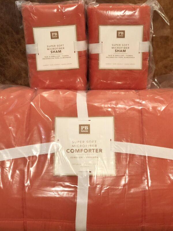 NEW Pottery Barn Teen Super Soft Microfiber Full/Queen Comforter & Shams, Orange