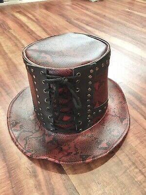 Creekside Leather Top Hat Red Snakeskin Steam Punk Costume Mens Gothic
