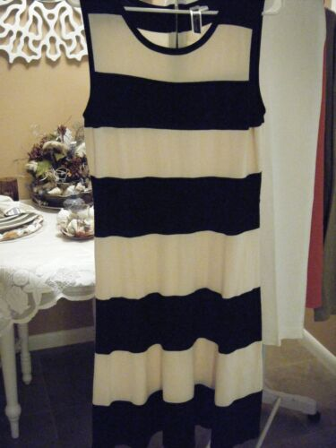JULIAN TAYLOR BLACK & CREAM SLEEVELESS STRIPED  DRESS  LARGE