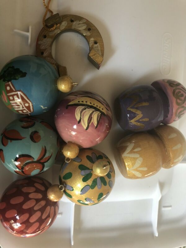 8 Hand painted Wooden Balls Mushrooms Baubles. Christmas Tree Ornaments Unique