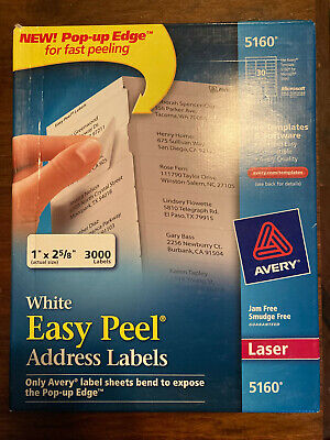 Avery 5160 3000 Ct. White Address Mailing Shipping Labels 1 X 2 58 Laser