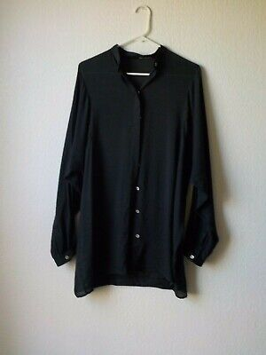Isabel Benenato Shirt Blouse Womens 40 (2-4 US) Black Batwind sleeve Button Down