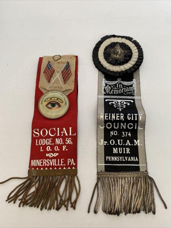 Vintage Lodge Ribbon Lot I.O.O.F And Jr. O.U.A.M Minersville Pa