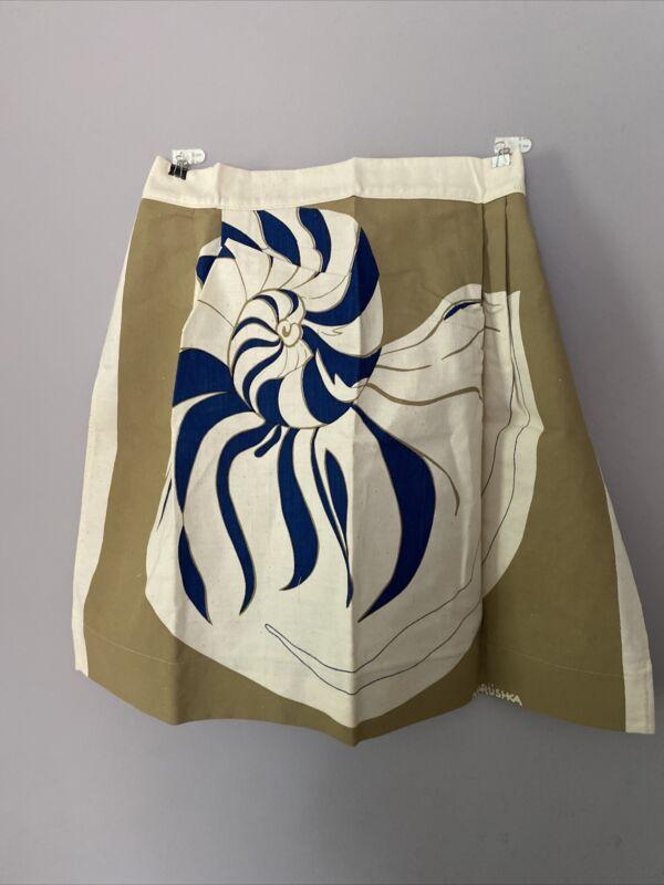 Vintage Marushka Screen Print Apron Sea Shell EUC Textile Art