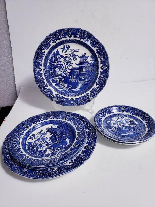 Vintage 6 Pc Burgess Leigh Burleigh Ware Burslem England Blue Willow Dinnerware