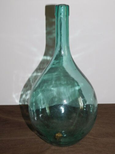 "VINTAGE 14 1/2"" HIGH  GREEN GLASS HAND BLOWN WINE BOTTLE"