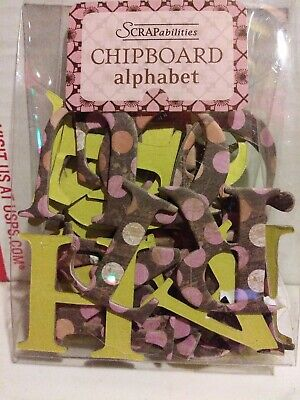 Scrapabiilities Chipboard Alphabet Pink & Green  2
