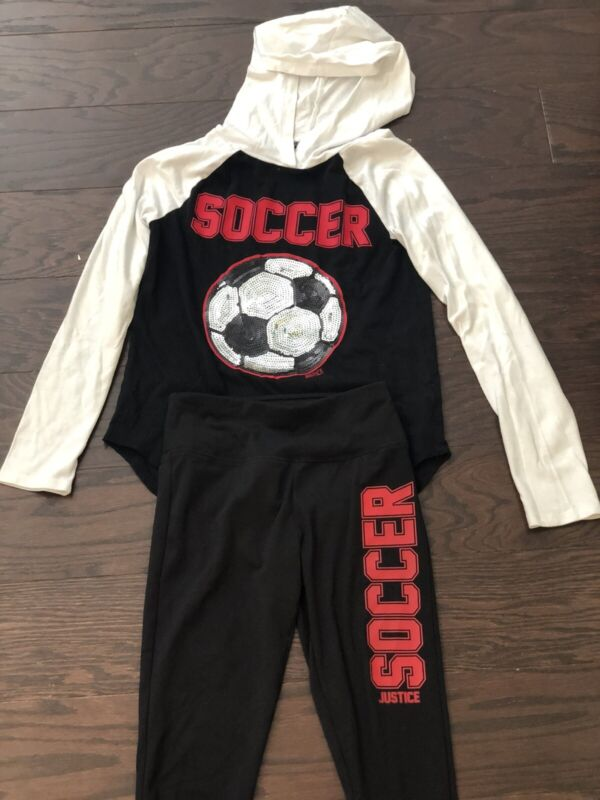Justice Girls Two Piece Shirt And Leggings Soccer Outfit Size 10