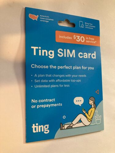 New SEALED Ting Mobile SIM Card Kit No Contracts No Prepayment $30 FREE Service