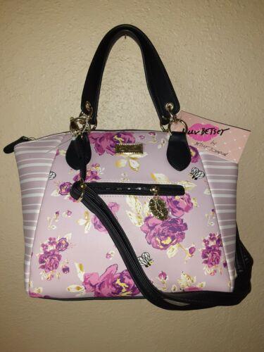 satchel shoulder bag crossbody purse purple floral