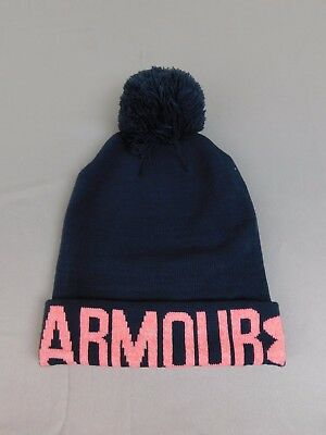 Under Armour Cold Gear Graphic Pom Pom Winter Beanie Hat Dark Gray, Pink - Under Armour Winter Gear