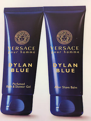 VERSACE DYLAN BLUE  AFTER SHAVE + PERFUMED BATH & SHOWER GEL 3.4 OZ. NEW UNBOX